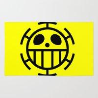 one piece Area & Throw Rugs featuring Travalgarlaw Logo One Piece Anime by Dazel