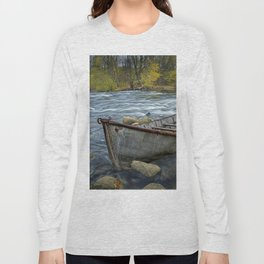 Canoe on the Thornapple River in Autumn Long Sleeve T-shirt