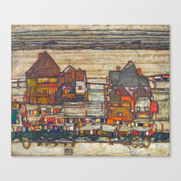 Egon Schiele - Houses with laundry (Suburb II) 1914 Canvas Print