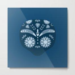 Blue Sugar Skull Metal Print