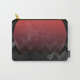 Red Sun in Geometric Waves Carry-All Pouch