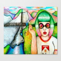 cigarette Canvas Prints featuring Cigarette by Icanthearmyeyes
