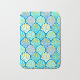 Seashells // Art Deco Shell Fans in blue, teal, turquoise & gold fit for a mermaid! Bath Mat