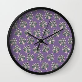 Hand painted blush pink violet modern floral Wall Clock