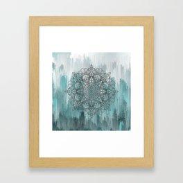 Blue Abstract Mandala Framed Art Print