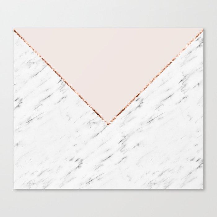 Peony blush geometric marble Leinwanddruck