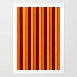 Autumn Pinstripe in Gold, Orange and Burgundy Art Print
