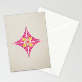 Pata Pattern in Pink & Yellow Stationery Cards