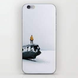 Plane wreck in Iceland with person - Landscape Photography iPhone Skin