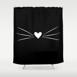 Cat Heart Nose & Whiskers White on Black Shower Curtain