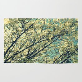 Ivory Blossoms Teal Sky Rug