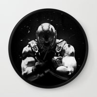 bane Wall Clocks featuring Bane by Sam Rowe Illustration