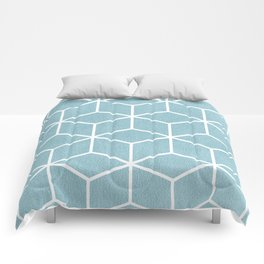 Light Blue and White - Geometric Textured Cube Design Comforters
