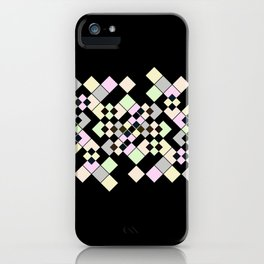 Abstract geometric pattern. Small colored squares on black. iPhone Case