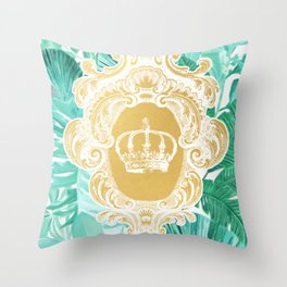 Tropical Leaf Crown Throw Pillow