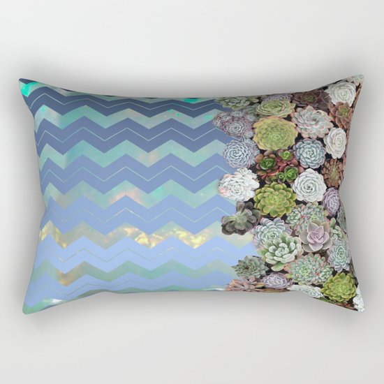 Opal & Succulent Chevron Pattern Rectangular Pillow
