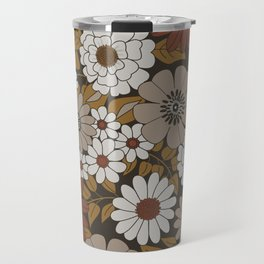 Brown, Orange, and Ivory Retro Flower Pattern Travel Mug