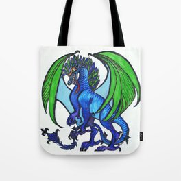Blue-and-green dragoness Tote Bag