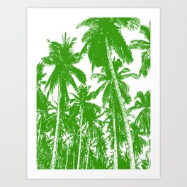 Palm Trees Design in Green and White Art Print
