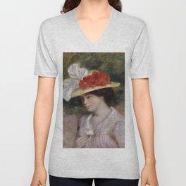"Auguste Renoir ""Woman in a Flowered Hat"" Unisex V-Neck"