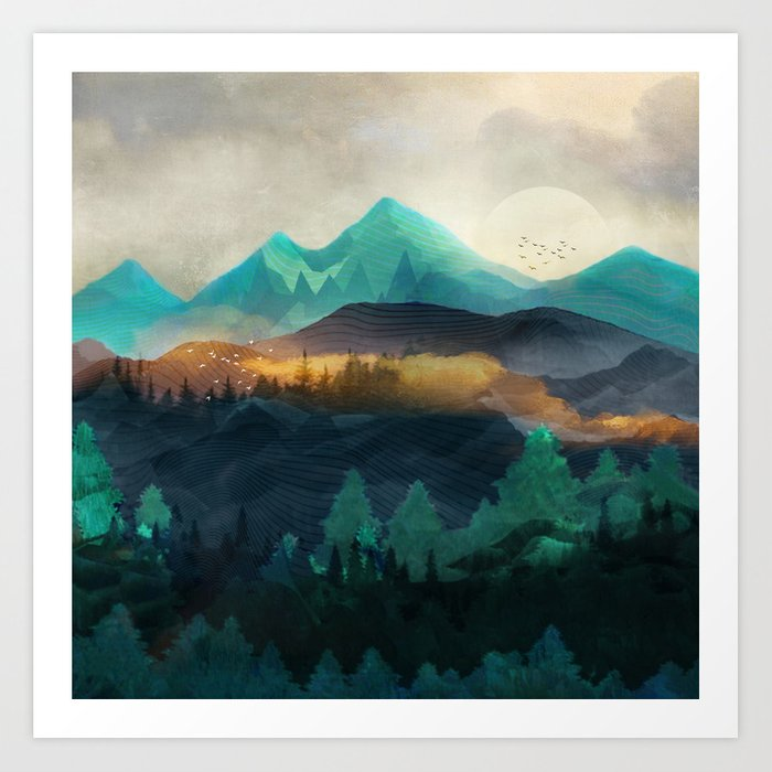 Green Wild Mountainside Art Print