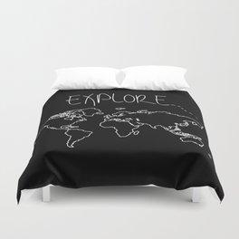Explore World Map Duvet Cover
