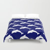 dolphins Duvet Covers featuring Dolphins by The Wellington Boot