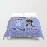 pride and prejudice Duvet Covers featuring Pride and Prejudice and Tacos by mikaelak
