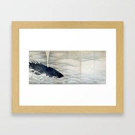ito jakuchu – whale Framed Art Print