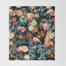 Floral and Flemingo II Pattern Throw Blanket