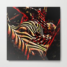 1206s-AK Abstract Striped Nude Rendered in Red Yellow and Gold Metal Print