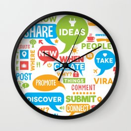 Social Media Infographic Style Design Wall Clock