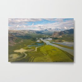 The view of Rapadalen valley from a helicopter, Swedish Lapland Metal Print