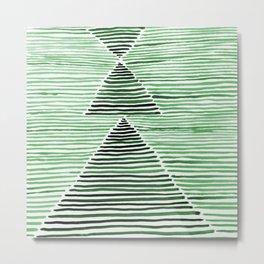 Rosario Watercolor Print in Dark Green Metal Print