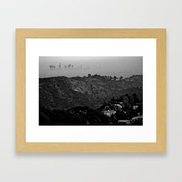 Veiled Los Angeles from Bronson Canyon hiking trial Framed Art Print