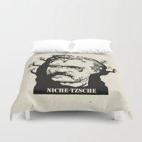 nietzsche Duvet Covers featuring NICHE-TZSCHE by science fried art
