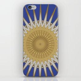 Bright Blue Gold Star Mandala iPhone Skin