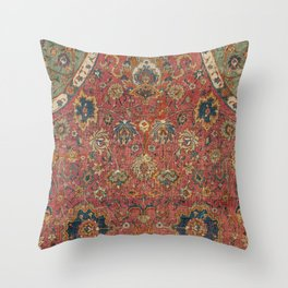 Persian Medallion Rug IV // 16th Century Distressed Red Green Blue Flowery Colorful Ornate Pattern Throw Pillow