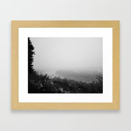 Hazey River Valley (black and white version) Framed Art Print
