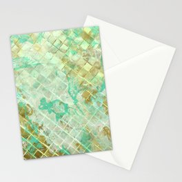 Turquoise & Gold marble mosaic Stationery Cards
