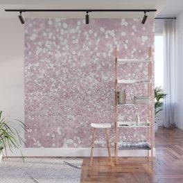 Elegant Girly Pink White Faux Glitter Wall Mural