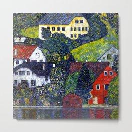 Gustav Klimt Houses at Unterach Metal Print