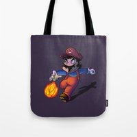 mario Tote Bags featuring Mario by DROIDMONKEY