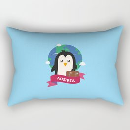 Penguin Globetrotter from Austria T-Shirt Rectangular Pillow
