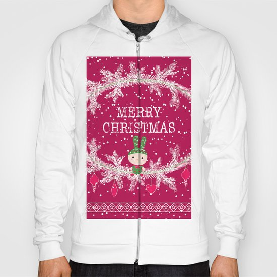 Merry christmas and happy new year greeting card wreath with cute toy bunny background Hoody