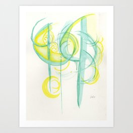 Watercolor abstract (green flash) Art Print