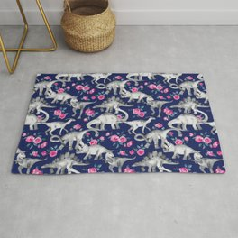 Dinosaurs and Roses on Dark Blue Purple Rug