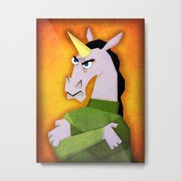 Grumpy Unicorn Metal Print