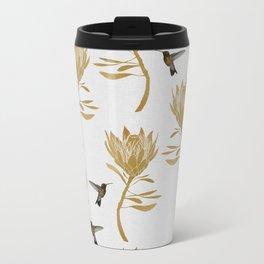 Hummingbird & Flower I Metal Travel Mug