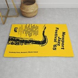 Vintage 1965 Newport, R.I Jazz Festival Advertisement Poster Rug